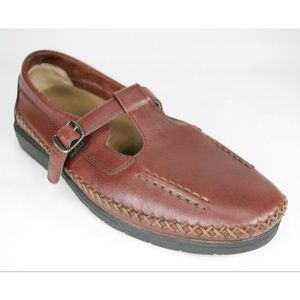 Propet Cafe Brown Leather Mary Jane Loafers 9 (AA)